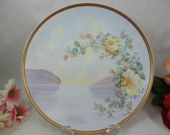 "1920s Limoges France Haviland & Cie Hand Painted Factory Artist Signed ""Berton"" Lake Scene Plate - Outstanding"