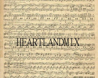 Vintage Sheet Music Digital Image Download Printable
