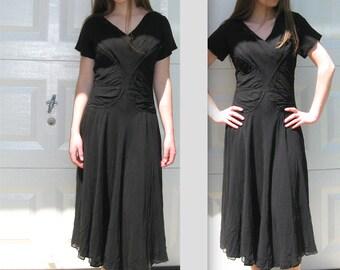 40s dress . Black Dress . rushed black dress .  Black Chiffon Dress . black 40s dress