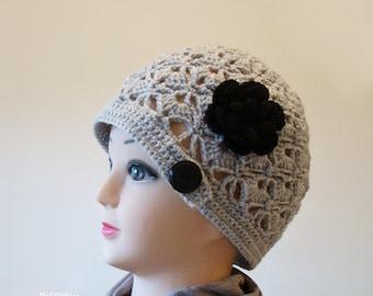 Grey Crochet Women Hat, Handmade Teen Hats,Gray woman Cap ,Crochet Beanie, with black flower