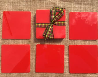 Attractive Acrylic Coasters, Hard Colours, Red, Black, Pink, Yellow, Green,