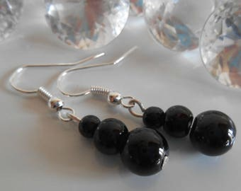 Trio of black pearls wedding earrings