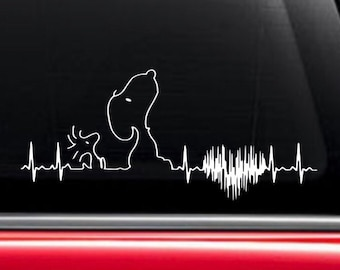 Snoopy Heart EKG Decal / Snoopy and Woodstock EKG Decal / Snoopy Decal / Woodstock Decal / Heart EKG Decal / Charlie Brown Decal