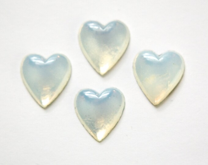 Vintage White Opal Glass Heart Cabochon 15X14mm (4) cab307A