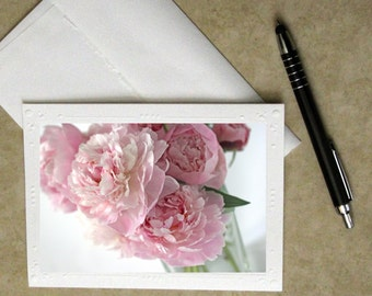 pink peony photo notecard, cottage chic note card, greeting card, photo card, flower greeting card, floral stationary