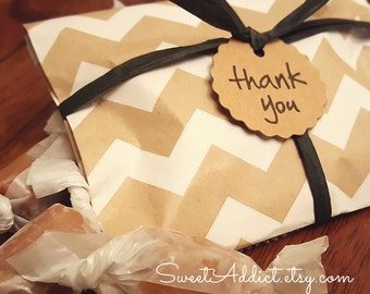 Edible Favors - Chevron - Caramels - WEDDINGS, BRIDAL, BABY Showers, Birthday, Party, Engagement, Gifts