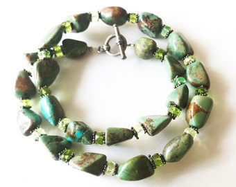 handcrafted Green Turquoise nuggets necklace with sterling silver clasp