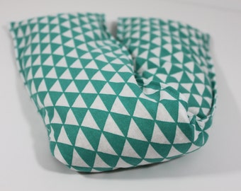 Neck & Shoulder Rice Bag - 4.5 x 21 inches, hot or cold therapy pack, teal and white triangle pattern, rice heating pad