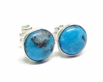 Blue Turquoise Studs - Sterling Silver - Large Real Turquoise - Stud Earrings for Women