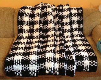Black and White Woven Afghan