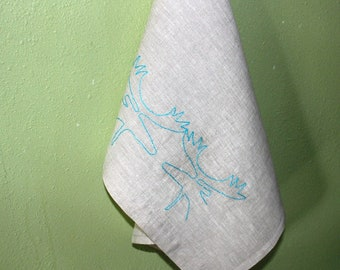 Linen Tea Towel Embroidered by Hand