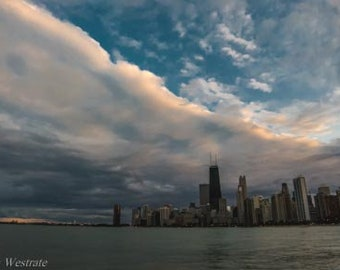 A fall afternoon in Chicago, IL. Photography Print. Landscape. Wall Art. Home Decor. Urban. Nightscape. Look up. Skyline