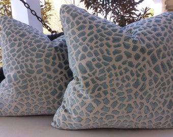 """Cowtan and Tout Pillow """"Lynx"""" Cover in Aqua Blue Leopard Print with ivory Velvet Backing"""