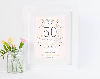 Golden Wedding Anniversary Personalised Print