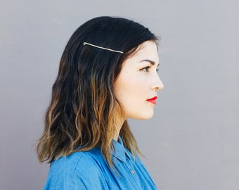 Classic Bobby Pin - Brass Hand Formed Barrette - Small and Large Size Hammered Gold Finish Accessory for Hair - by Mane Message on Etsy