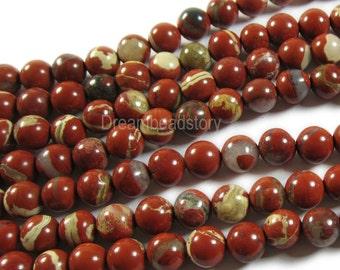 Natural Red Jasper 6 8 10 12mm Red Creek Jasper Gemstone Beads Supplies (B196)