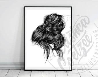 Pretty Loose Hair Up-do Illustration Hairstyle  Salon Poster INSTANT DOWNLOAD Printable