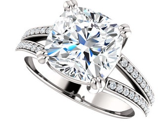3.50 Carat Forever Brilliant Moissanite Engagement Ring with Genuine Diamond Sidestones