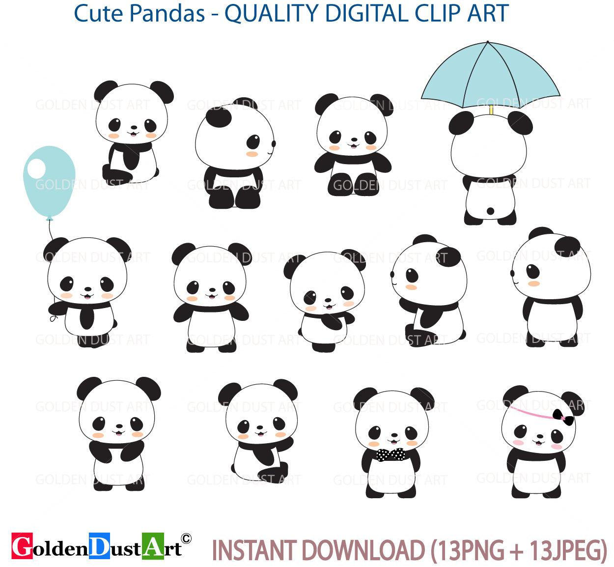 cute panda clip art panda clip artpanda clipart cute panda rh etsy com cute panda clipart images cute panda clipart free