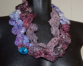 Lace Crochet Necklace/Cowl with Fabric Button/ Wool Cowl Soft to Skin OOAK Gift for Her