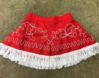 Girls Vintage Cowgirl Fringe Skirt / Girls Vintage Cowgirl Embroidered Skirt