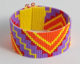 SALE! Tribal ZigZag Bead Loom Cuff Bracelet Aztec Bright Colorful Boho Jewelry Native American Inspired  Beadweaving Southwestern