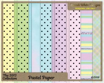 Pastel Paper, Digital Scrapbook Backgrounds, 2013 Collection, Dots, Stripes, Clouds