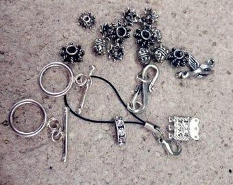 set of 22 beads and Tibetan silver tone metal findings