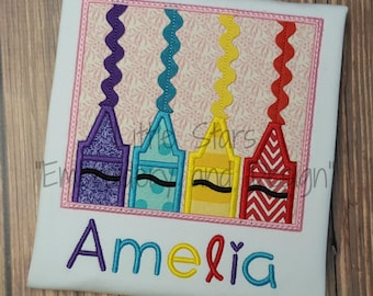 Crayons with Ric Rac - Applique and Personalized Shirt