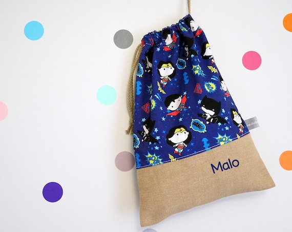 Customizable drawstring pouch - kindergarden - Super Heroes - Comics - Superman - Batman - Wonder Woman - cuddly toy - slippers - toys
