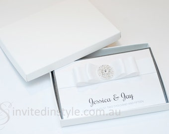 Boxed wedding invitation-trifold design with diamante button - dark grey/gray and white - PERSONALISED SAMPLE