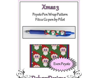 Bead Pattern Peyote(Pen Wrap/Cover)-Xmas 3