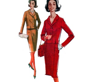 60s uncut Chanel Style Suit pattern Tailored Jacket pattern Straight Skirt pattern Skirt Suit pattern 34-26-36 McCalls 6536
