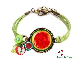 Bracelet I love watermelon fruit green and Red bronze-n-roses