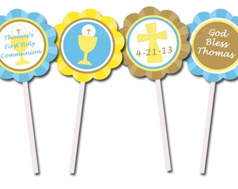 First Communion Cupcake Toppers - Personalized Printable 2 inch Party Circles - DIY - Blue, Yellow, Brown for Boy