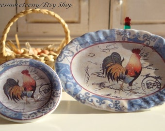 Farm Rooster Blue  Dollhouse Miniature Tray 1:12 scale