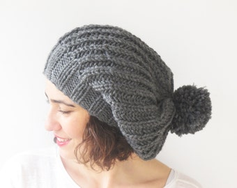 Dark Gray Slouchy Hat with Pon Pon by Afra