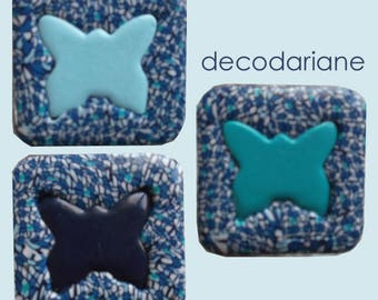 Furniture Butterfly in shades of turquoise, blue and white buttons
