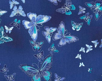 Dutchess Butterfly Blue Timeless Treasures Fabric 1 yard