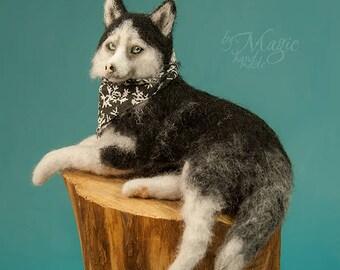 Custom dog sculpture, needle felted pet, dog portrait, pet memorial, needle felted animal, dog art, pet figurine, felting dog, gift for him