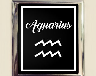 Aquarius Zodiac Sign Cigarette Case Business Card ID Holder Wallet Astrology Astrological New Age Spirituality
