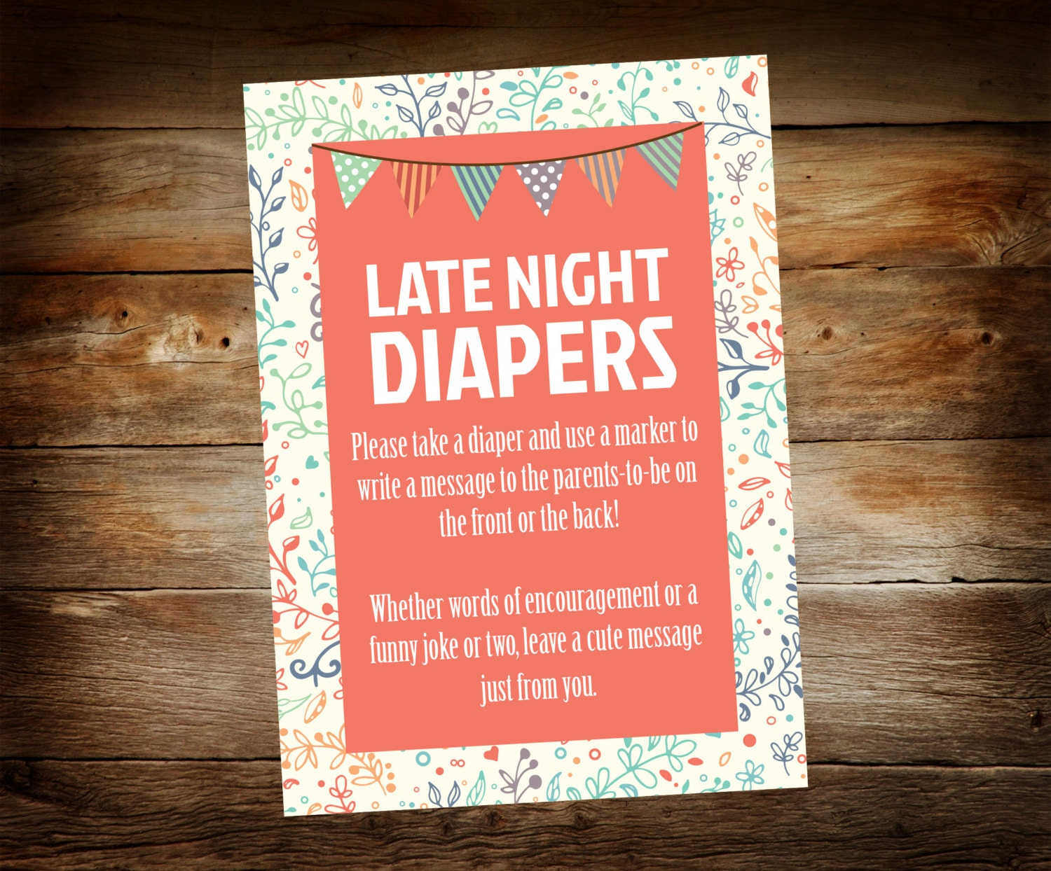 Woodland baby shower printable Diaper Raffle Sign ...  |Sign For Diaper Baby