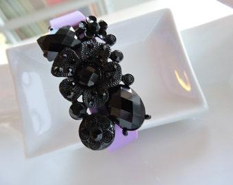 Lovely Band Bling Fitbit Bracelet Cover ~ Fitbit Flex bracelet Slide-on Charm - Large Vintage Jet Black Flowers on lush Black metal trim