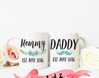 Pregnancy Reveal Mug / Mommy & Daddy Est. with custom date set of TWO mugs / New Parents / Ceramic / Dishwasher Safe