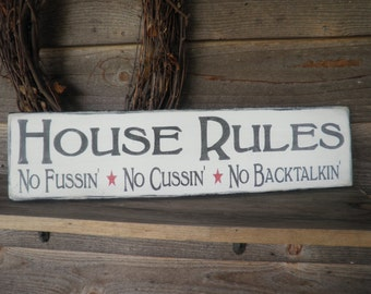 country home decor, wood signs, family rules, home decor, primitive, primitive home decor, funny sign, rustic sign, hand painted signs, sign