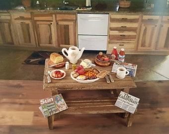 Miniature Rustic Traditioanal Full English Breakfast Set