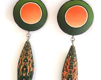 Polymer Clay Earrings, Abstract Earrings, Dangle Earring, OOAK