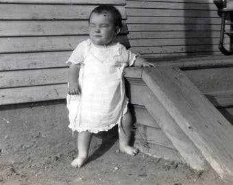 vintage photo Baby Power Sleeps Standing Up Excuse Me While I Take a Nap Unusual Abstract