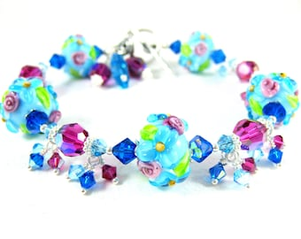 Floral Bracelet, Aqua Blue Pink Bracelet, Nature Jewelry, Lampwork Bracelet, Flower Bracelet, Colorful Glass Bracelet, Gift for Her - Kalea