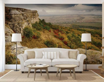 Peel And Stick Mountain Wallpaper, Wall Mural Mountain, Mountain Wall Decal, Custom Wallpaper